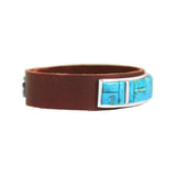 Kingman Turquoise Inlay Brown Leather Bracelet