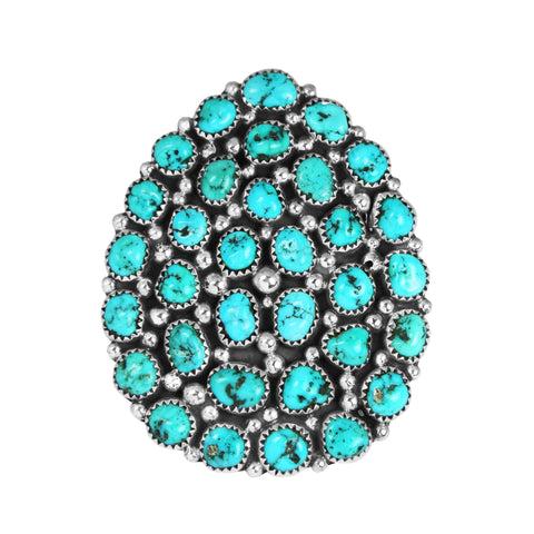 Adjustable Sleeping Beauty Turquoise Large Cluster Ring