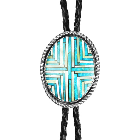 Santo Domingo Inlay Turquoise & Mother of Pearl Bolo Tie