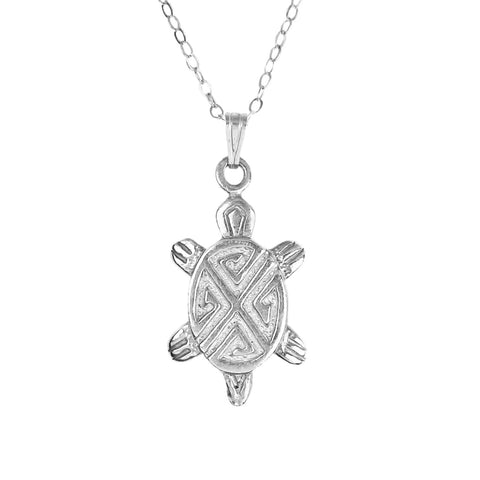 Hopi Cast Silver Turtle Pendant Necklace
