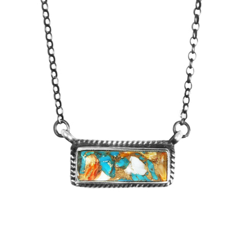 Spiny Oyster Turquoise Bar Necklace