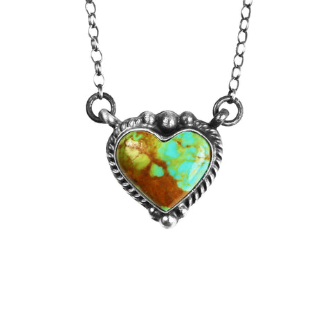 Kingman Turquoise Heart Chain Necklace