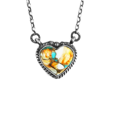 Spiny Turquoise Heart Chain Necklace