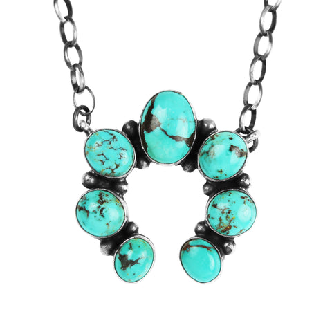 Navajo Kingman Turquoise Naja Chain Necklace