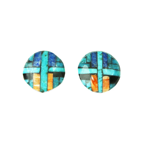 Turquoise Lapis Spiny Oyster Mosaic Inlay Post Earrings
