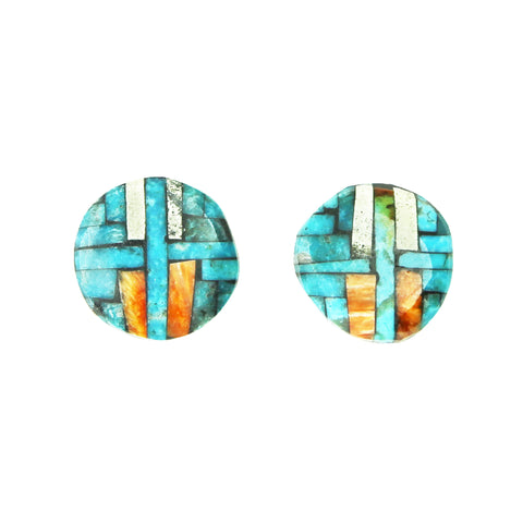 Turquoise White Buffalo Mosaic Inlay Post Earrings