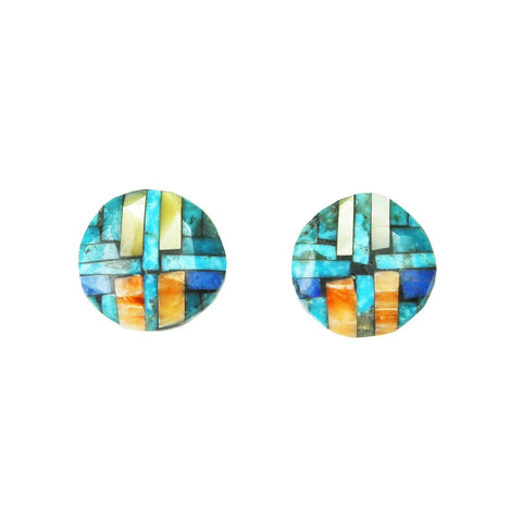 Turquoise Lapis Pearl Mosaic Inlay Post Earrings