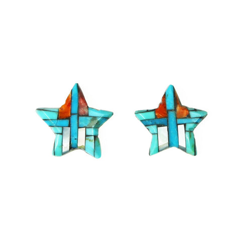 Turquoise Spiny Pearl Mosaic Inlay Star Post Earrings