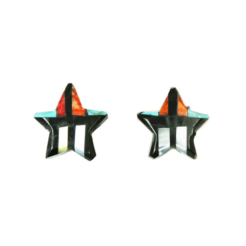 Turquoise Jet Spiny Mosaic Inlay Star Post Earrings
