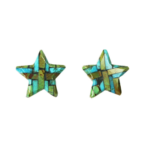 Multi Color Turquoise Inlay Star Post Earrings