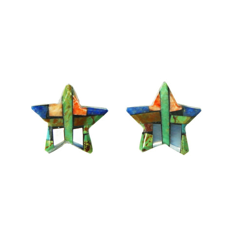 Green Kingman Turquoise Lapis Inlay Star Post Earrings