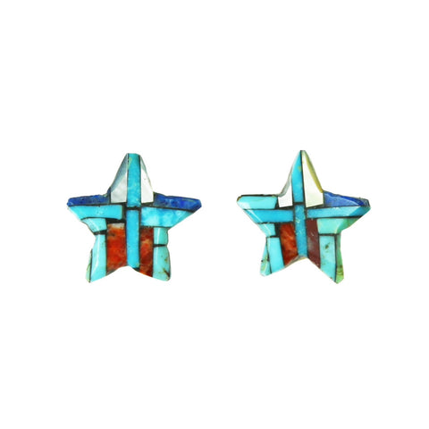 Turquoise Lapis Spiny Oyster Star Inlay Post Earrings