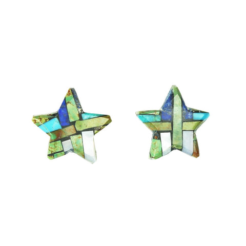 Green Turquoise Lapis Star Inlay Post Earrings