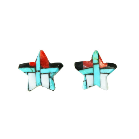 Turquoise Jet Spiny Oyster Inlay Star Post Earrings