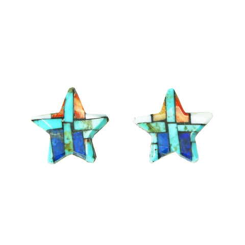 Turquoise Lapis Spiny Mosaic Inlay Star Post Earrings