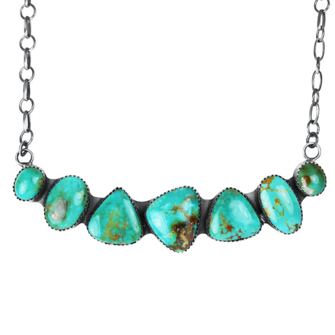 Seven Stone Turquoise Bar Necklace
