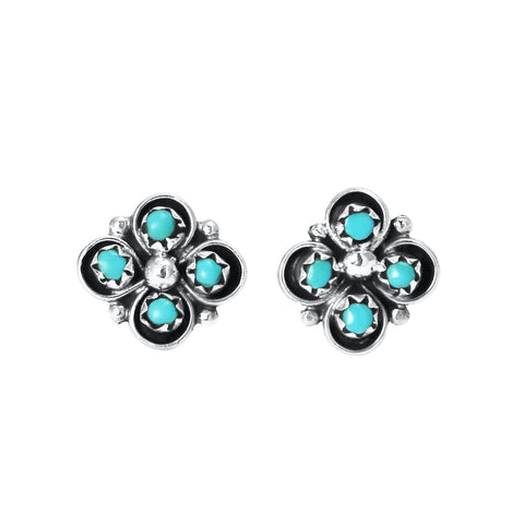 Zuni Turquoise Dot Flower Post Earrings