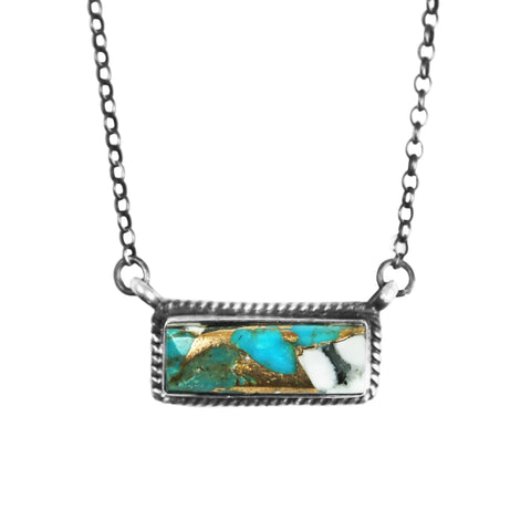 Turquoise & White Buffalo Bar Necklace