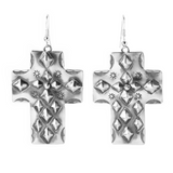 Wide Stamped Silver Cross Dangle Earrings