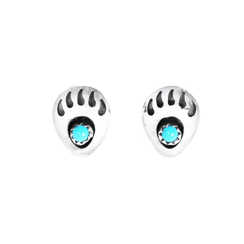 Turquoise Bear Claw Post Earrings