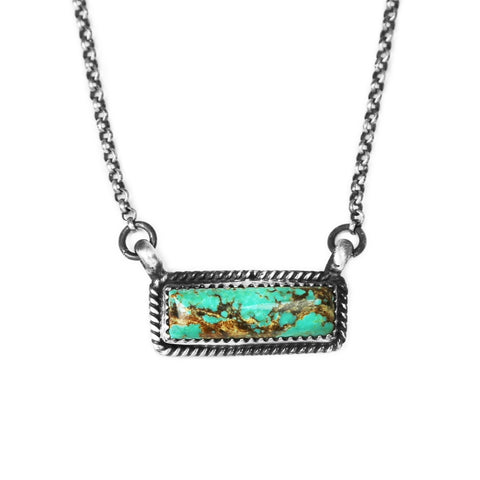 Kingman Turquoise Silver Bar Necklace