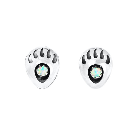 White Opal Bear Claw Post Earrings