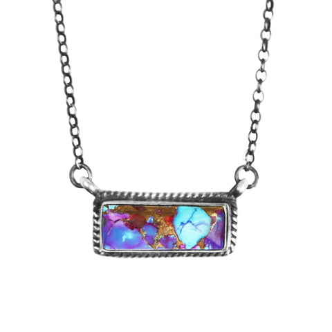 Purple Mojave Turquoise Bar Necklace