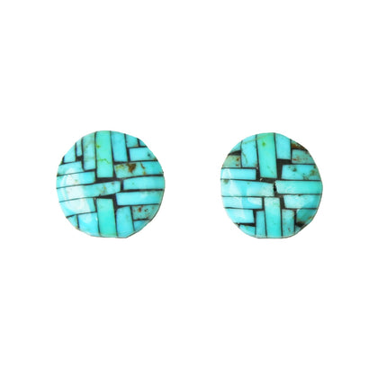 Kingman Turquoise Mosaic Inlay Post Earrings
