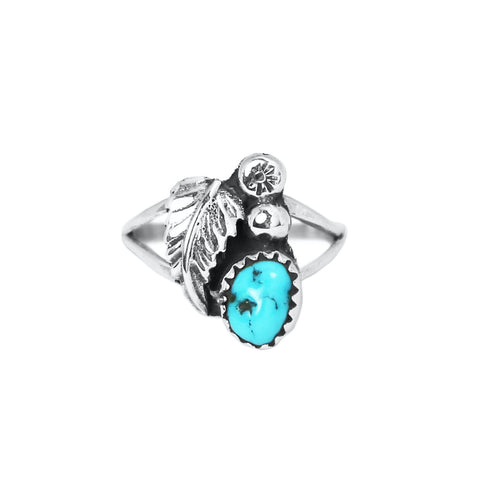 Turquoise & Feather Navajo Ring