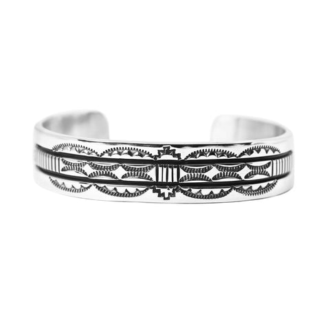 Bruce Morgan Stamped Silver Cuff Bracelet - Style 2
