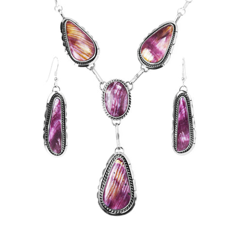 Purple Spiny Oyster Earring & Necklace Set