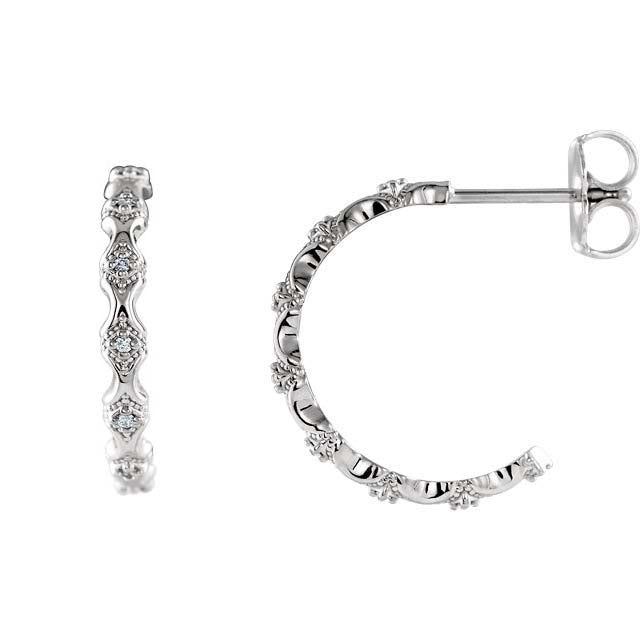 14K White Accented Hoop Earrings