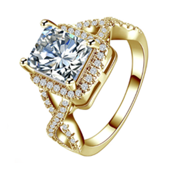 Princess Cut AAA Cubic Zirconia Gold Wedding Ring