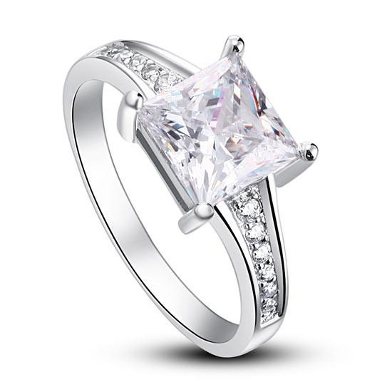 1.5 Ct Princess Cut 925 Sterling Silver Engagement Ring