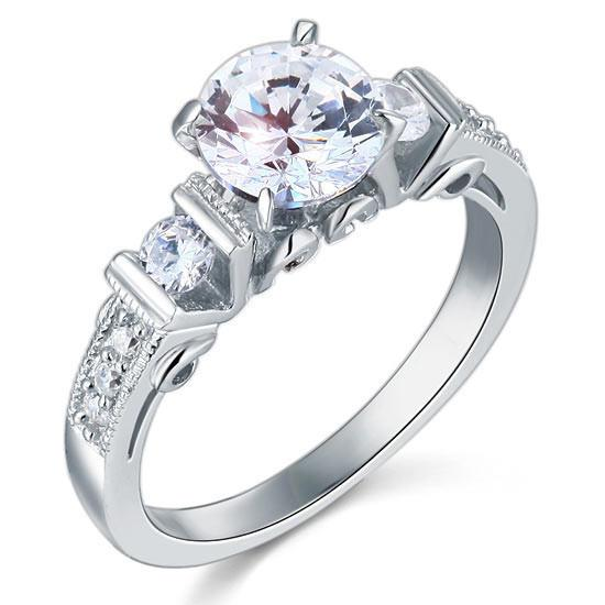 Vintage Style 1.25ct Simulated Diamond 925 Engagement Ring