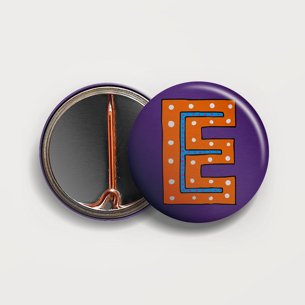 Letter E button badge