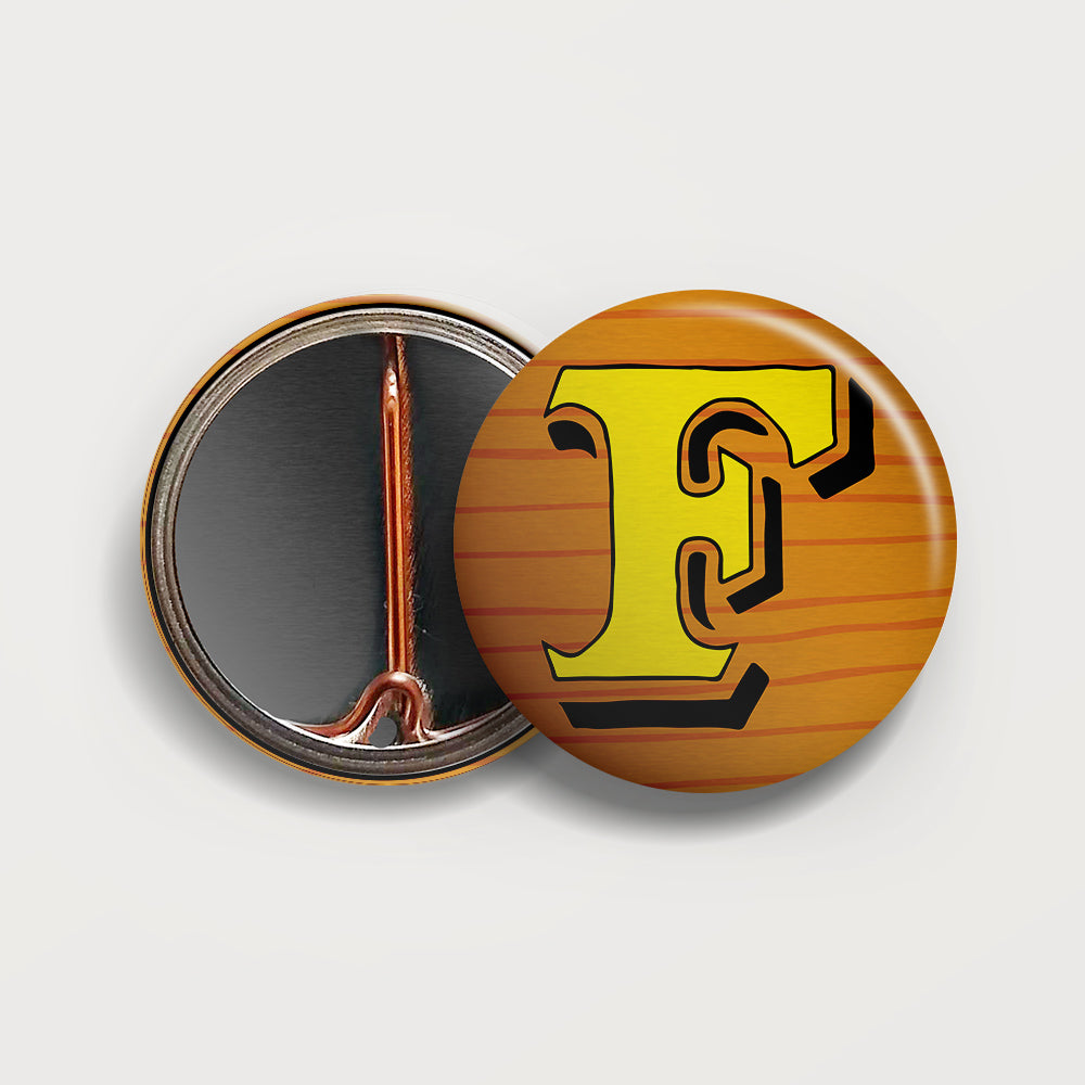 Letter F button badge
