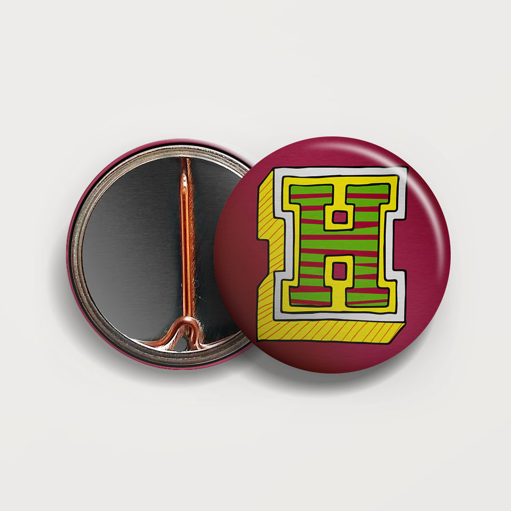 Letter H button badge