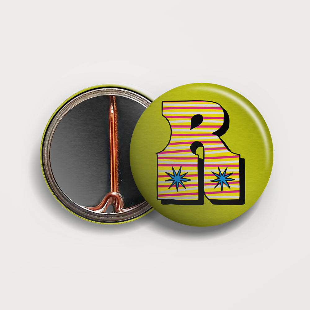 Letter R button badge