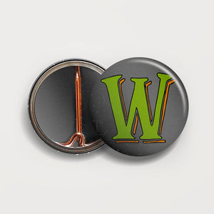Letter W button badge