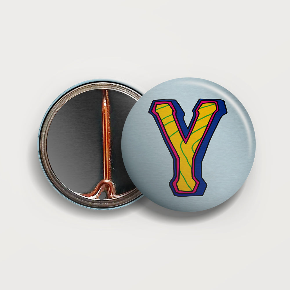 Letter Y button badge