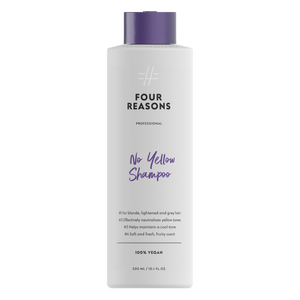 Four Reasons Professional No Yellow Shampoo, 300 ml, keltaisuutta neutralisoiva, hoitava pigmenttishampoo, 'violettishampoo', supersuosikki, paras 'hopeashampoo'