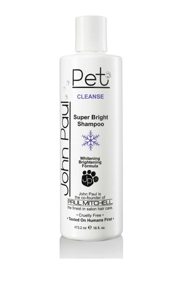 John Paul Pet Super Bright Shampoo 473 ml, Kirkastava shampoo vaalealle turkille koiralle lemmikille nordic hair house