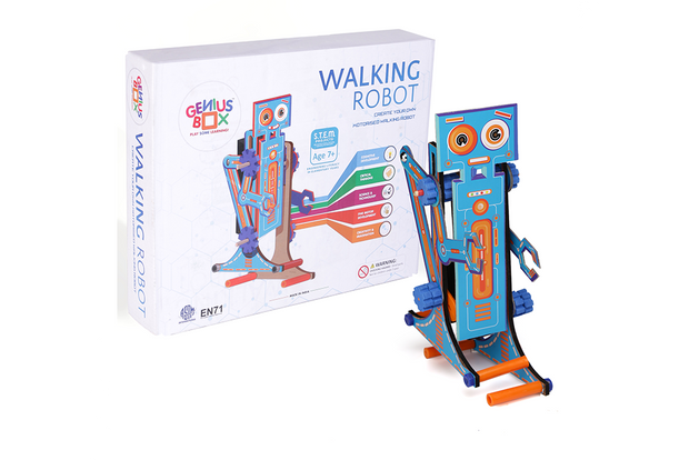 Genius Box Walking Robot Perfect Educational Activity DIY Kit | Toy | STEM Project Designed for Age 7+ Young Inventors.