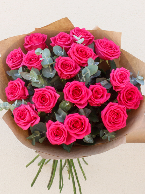 18 Pink Rose Hand-tied