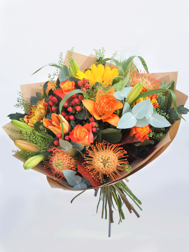 Sunset Flower Bouquet and Chocolates