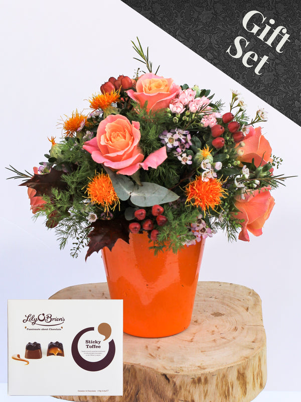 Marigold Flower Vase and Chocolates