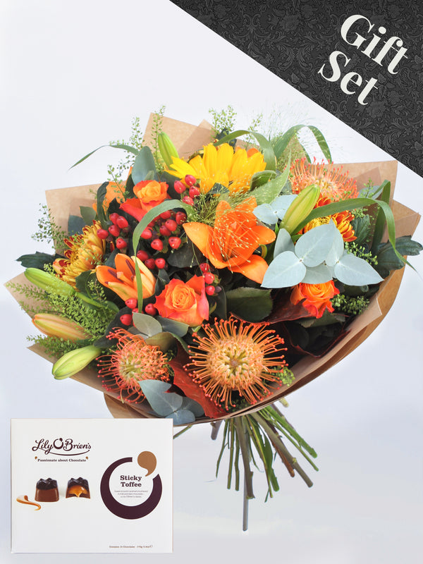 Autumnal Flower Bouquet and Chocolates
