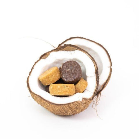 half coconut with inner hair nutrition bites sitting inside, no packaging