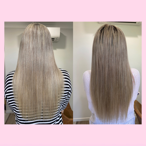 before and after images side by side of inner hair nutrition bites